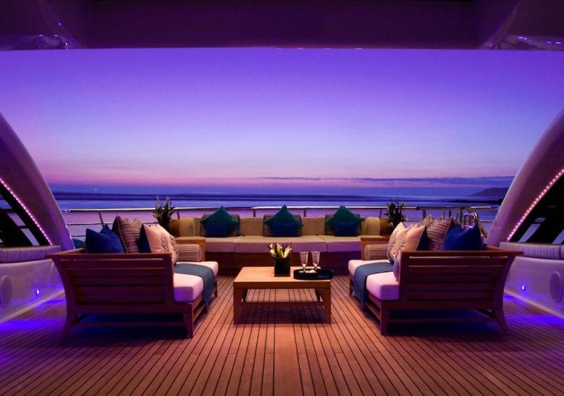 Superyacht Sea Rhapsody impressive deck lighting at night