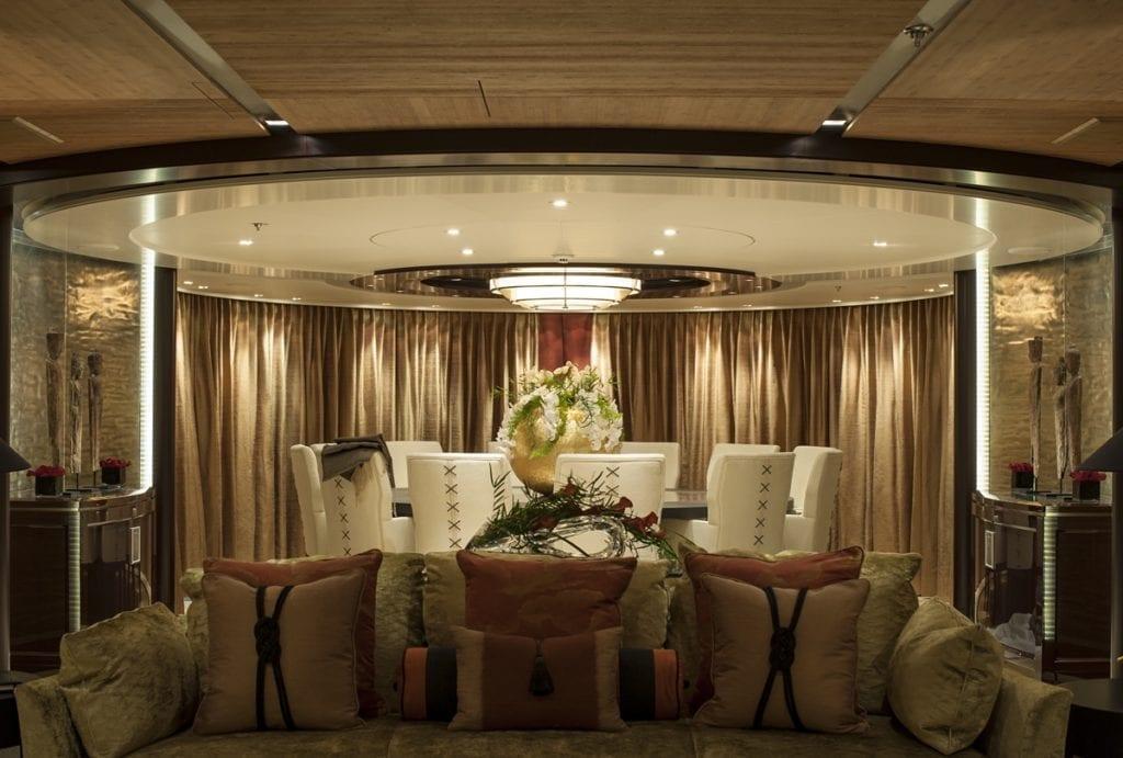 Superyacht Sea Rhapsody interior dining table