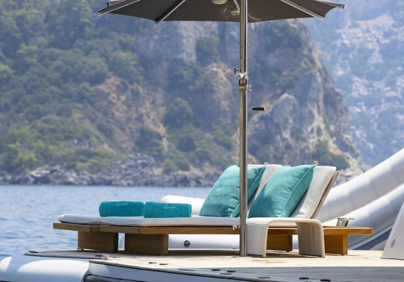 Superyacht Sun lounger on deck, Sea Rhapsody