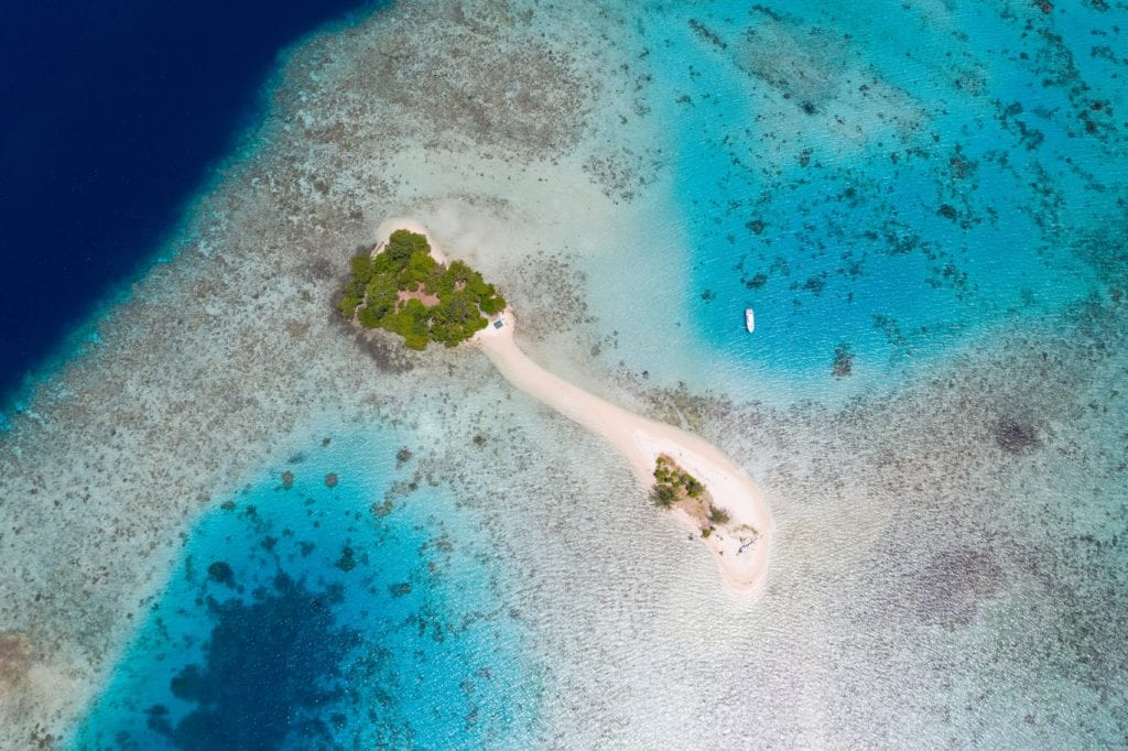 Aerial View Sand Banks and Turquoise Waters Papua New Guinea
