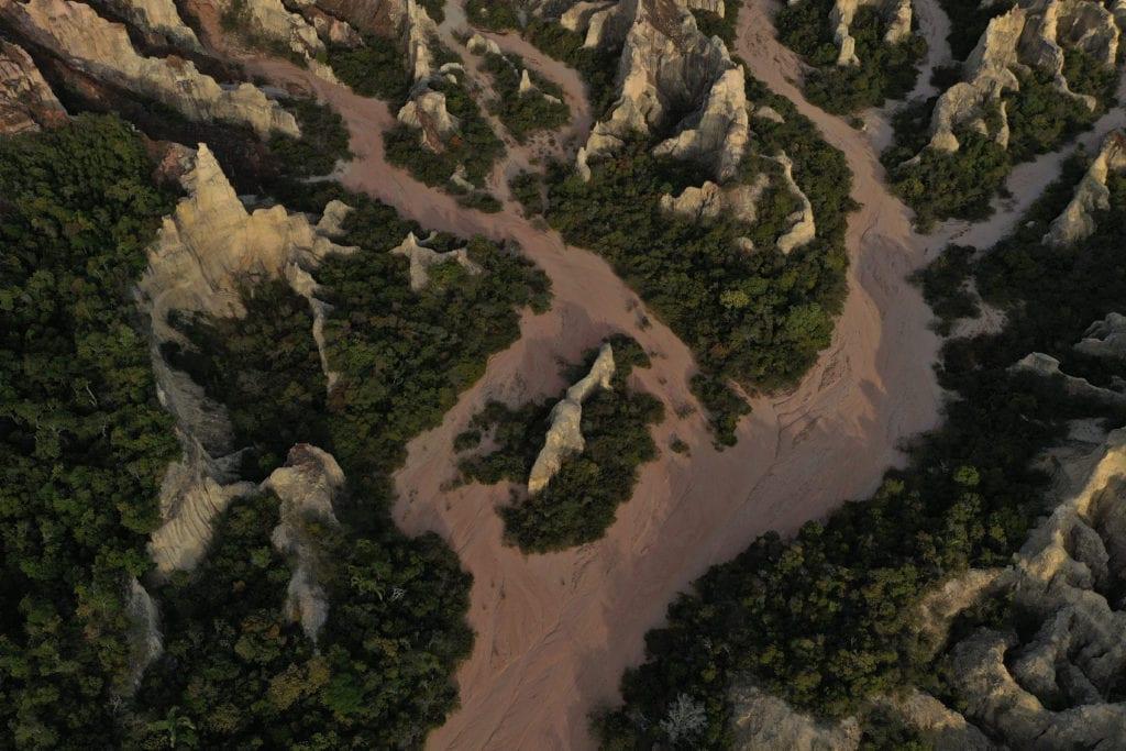 Cirques Blancs Madagascar River Aerial View