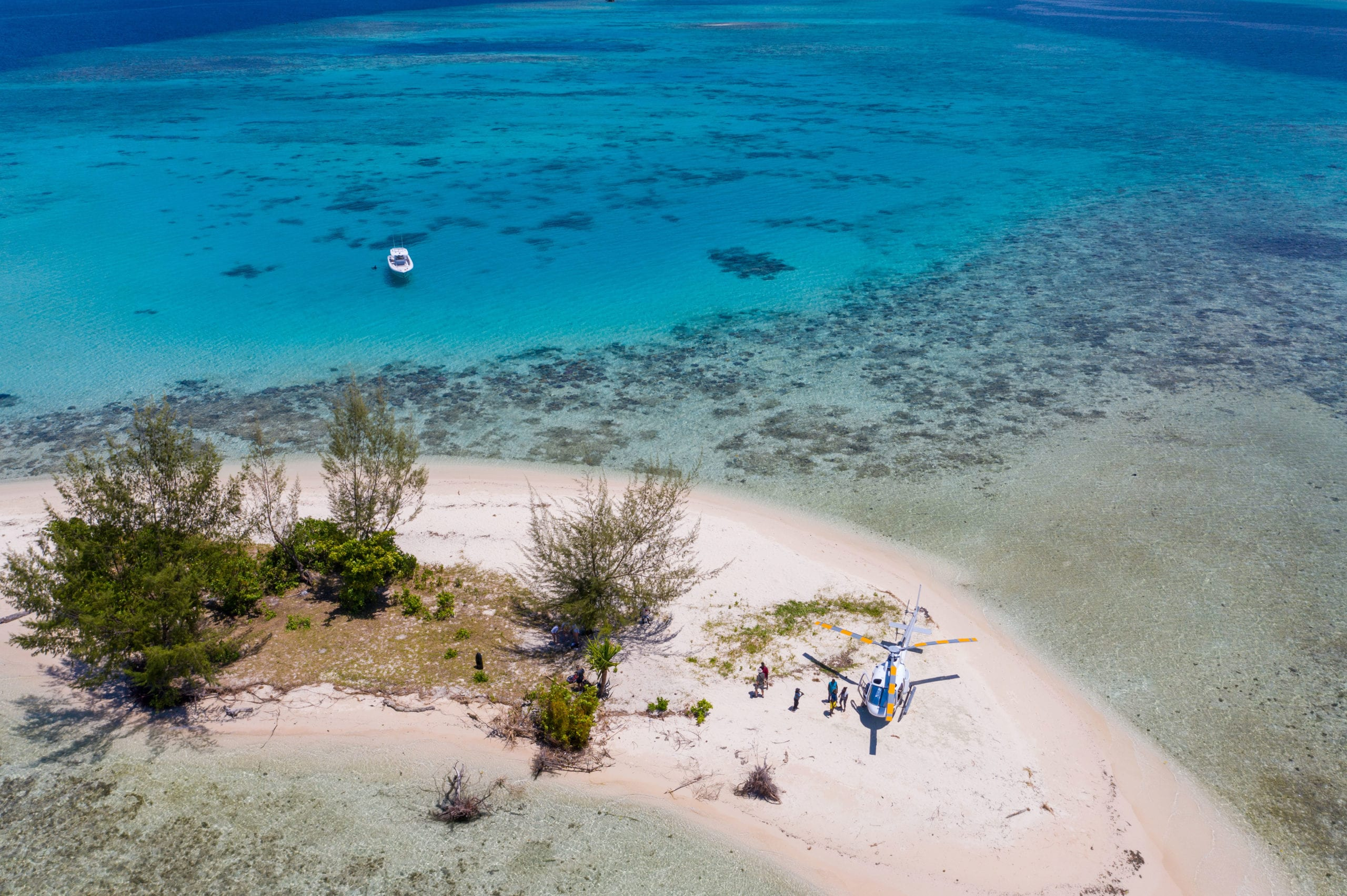 Heli on a Deserted Sand Bank Papua New Guinea