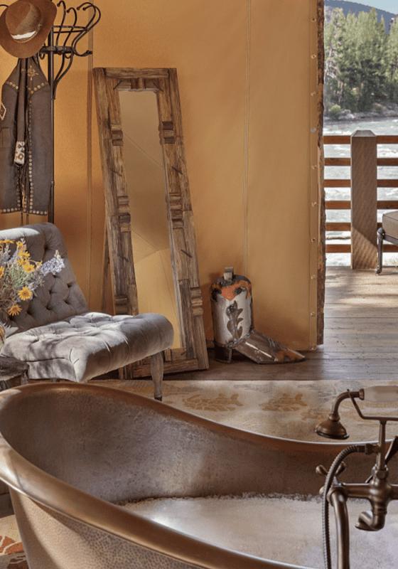 USA Montana tented camp bathroom view paws up