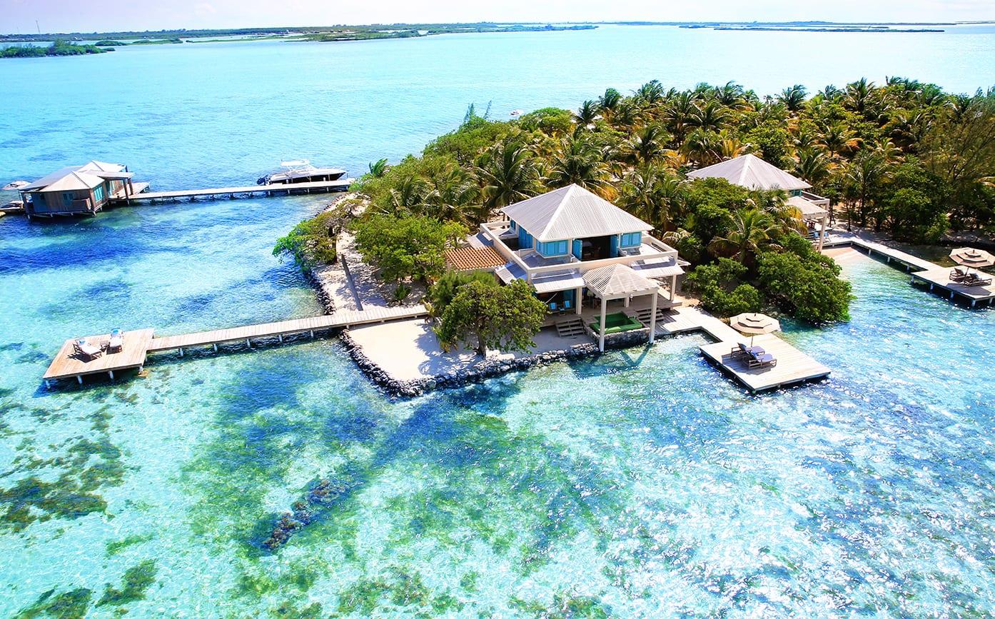 Aerial View Over Ocean and Island Cayo Espanto Belize