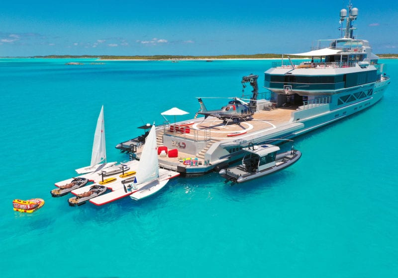 M/Y BOLD exterior with all the toys and tenders