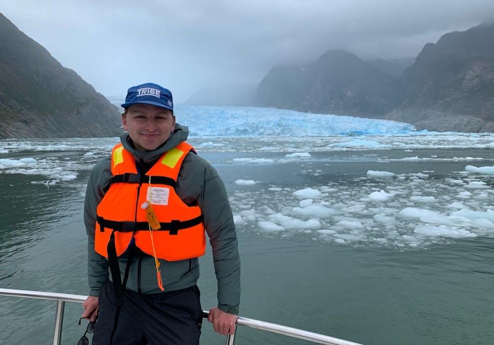 Chile, Laguna San Rafael, Charlie and glacier in backdrop