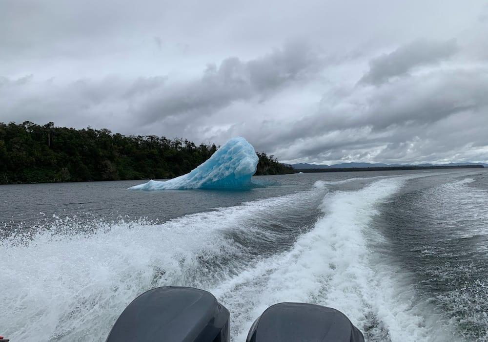 Chile, Laguna San Rafael, taking a boat through icy waters