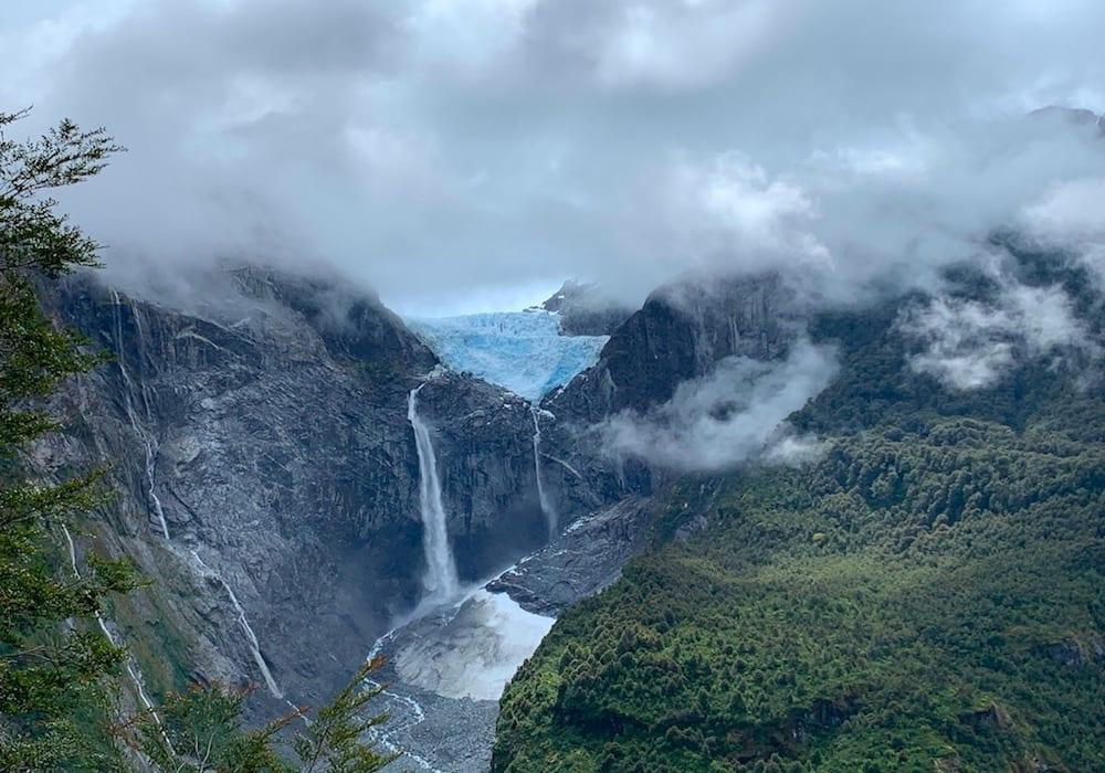 Chile, Parque Nacional Queulat, Ventisquero Colgante glacier waterfall