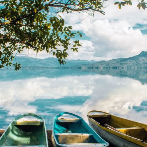 Colourful canoes on a lake in Mexico