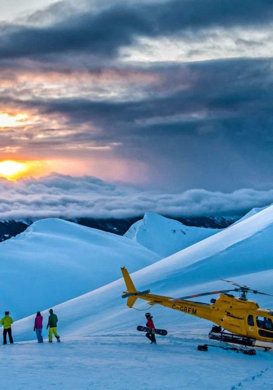 South America, Patagonia Pelorus heli-ski at sunset