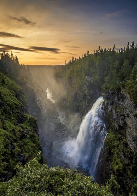 summer sweden waterfall forest