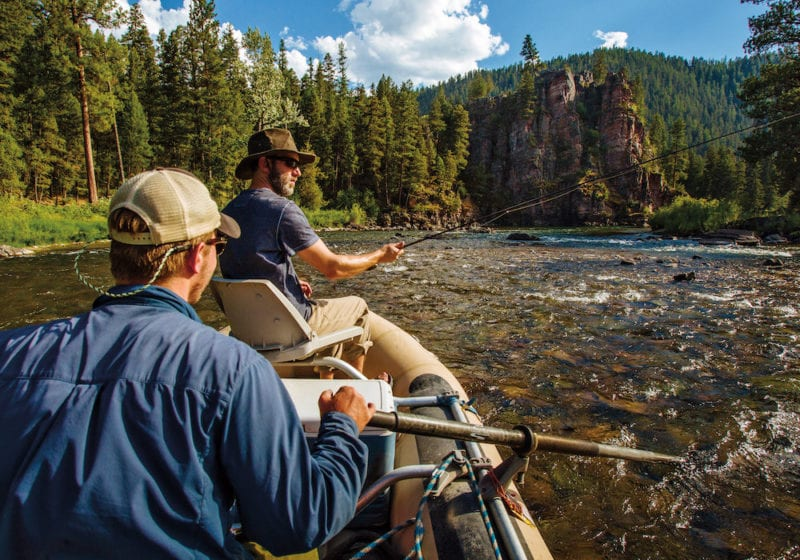 fishing on a picturesque river in Montana, USA