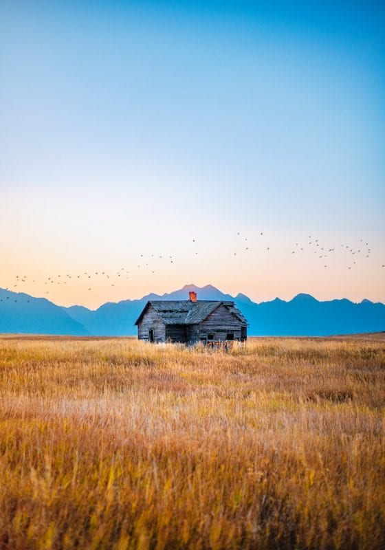 Wooden shack in Montana's Wild West, USA