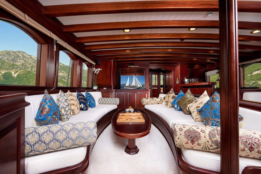 RIANA Sailing Yacht Interior Dining Seating Lounge Area