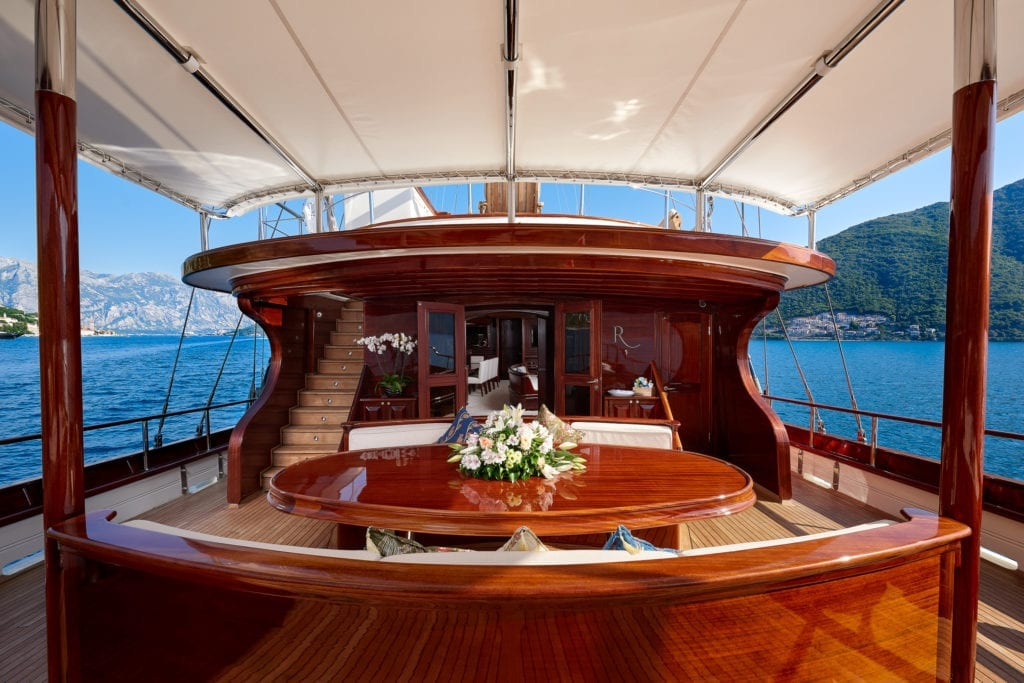 RIANA Sailing Yacht On Deck Seating Dining Table Lounge Area