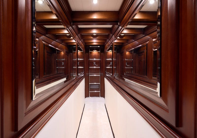 RIANA Yacht Interior Corridor Wood Finish