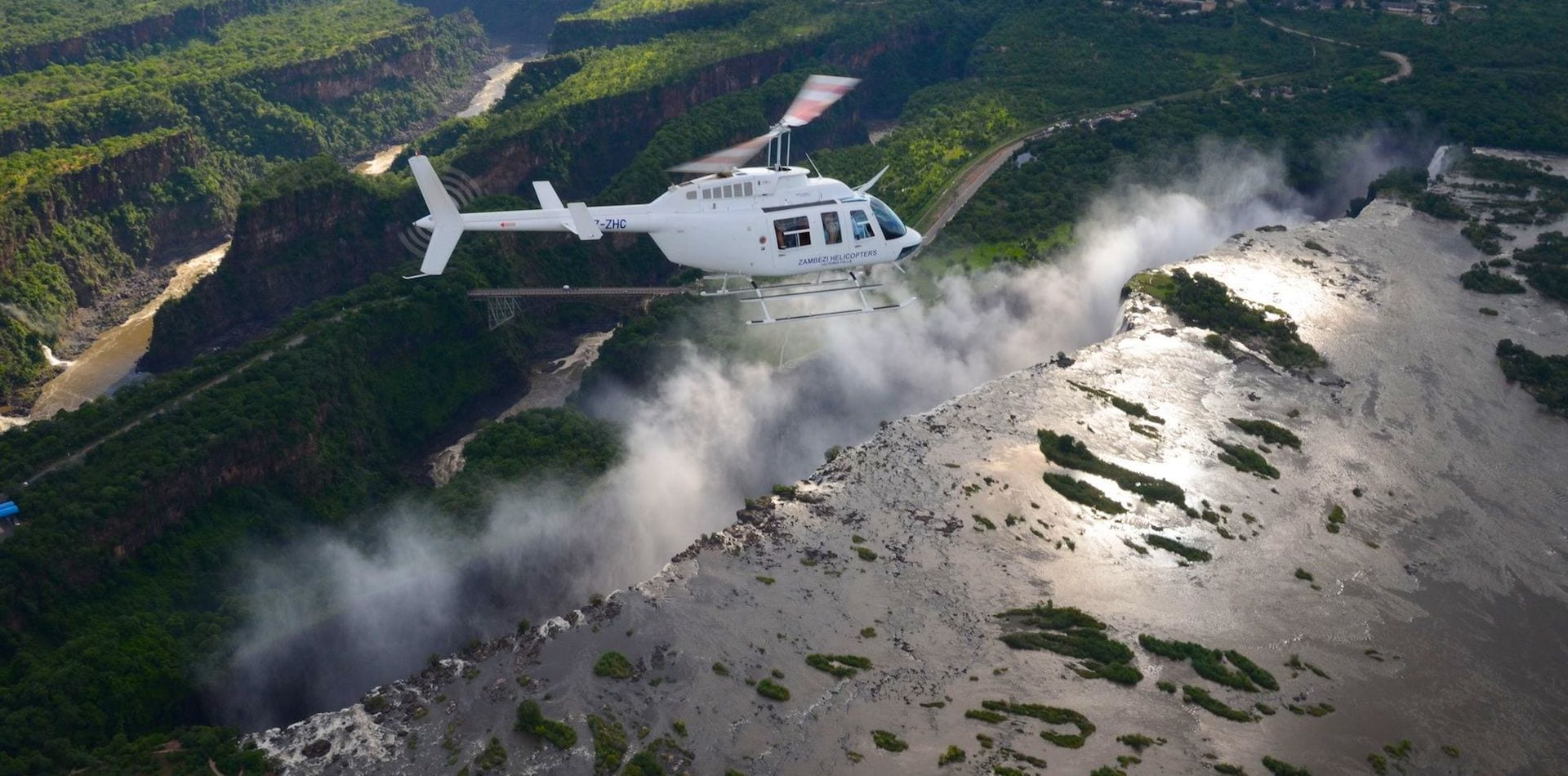 Helicopter over Victoria Falls, Zambia, Africa