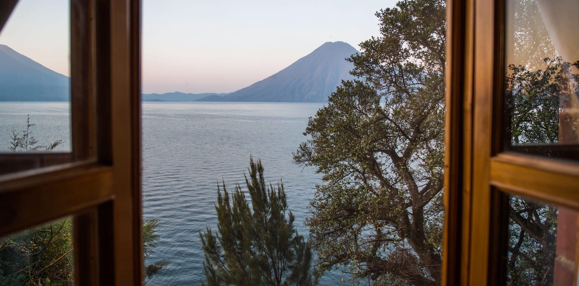 View From Window Over Lake Atitlan, Guatemala