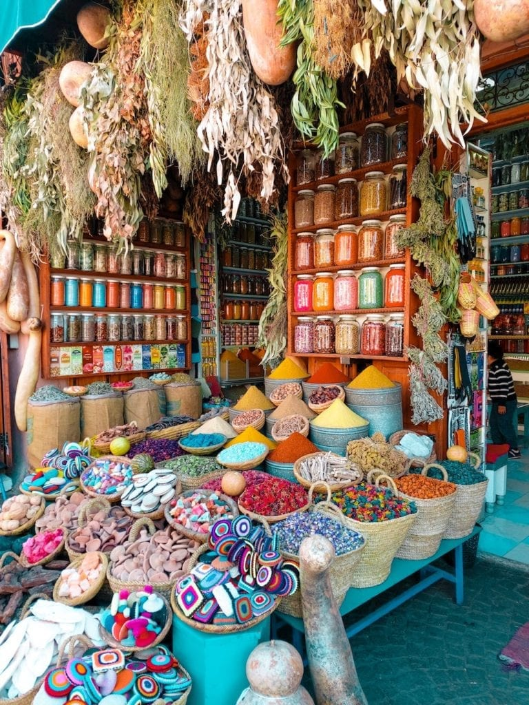 Colourful Spices in a Souk in Marrakesh, Morocco, North Africa