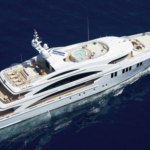 MIMI Yacht Exterior Aerial View Hero Image