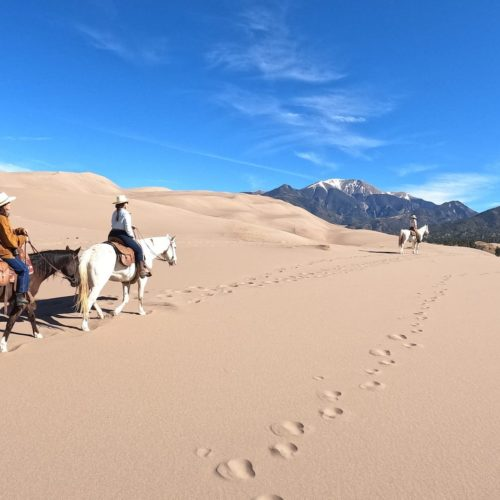 Horse Riding the Great Sand Dunes National Park in Colorado, Western USA
