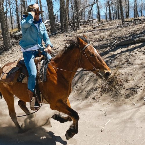 Jimmy Riding the Great Sand Dunes, Colorado USA